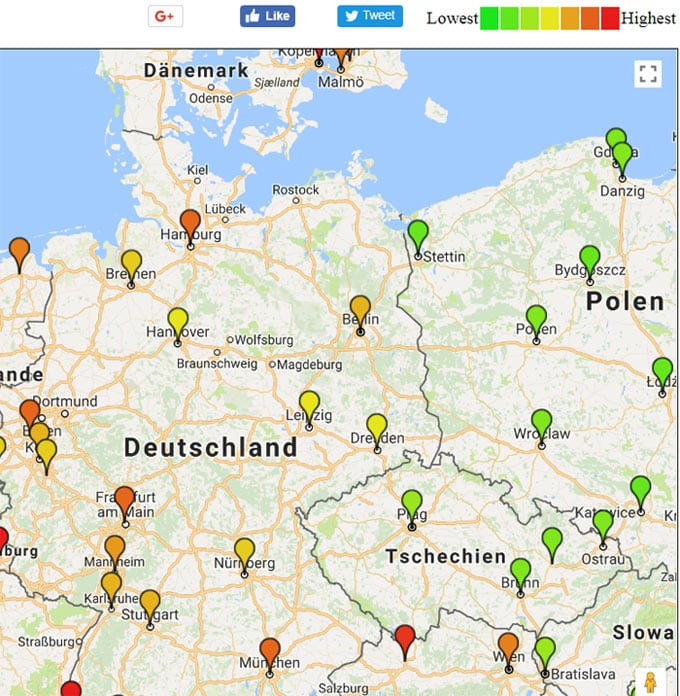 Leipzig ist günstiger als Berlin, Berlin günstiger als München - und Prag ist noch günstiger