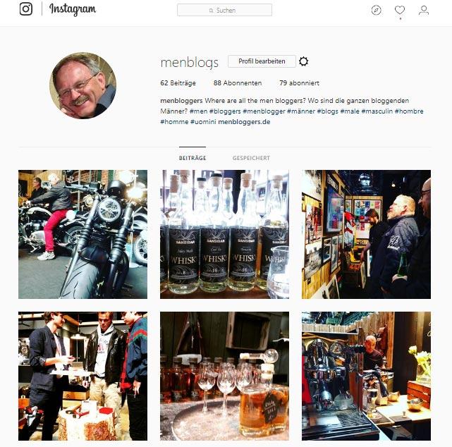 menbloggers ist auch bei Instagram vertreten