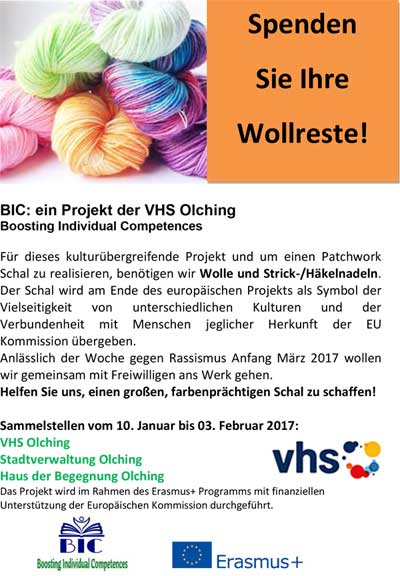 Wollaktion der vhs Olching